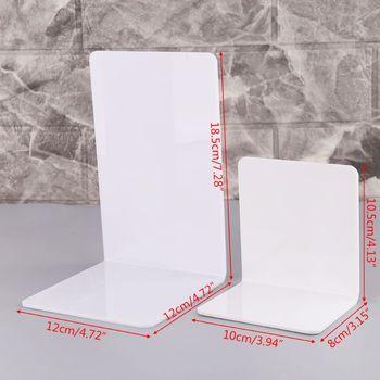 2 sztuk biały akryl Bookends w kształcie litery L Organizer na biurko pulpit stojak na książkę szkoła papiernicze akcesoria biurowe XXUC tanie i dobre opinie OOTDTY XXUC5AC1101322-M Metal
