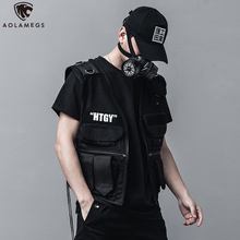 Aolamegs Tank Tops Men Military Tactical Multi-Pocket Vest Loose High Street Hip Hop Sleeveless Outdoor Punk Tank Top Streetwear curve bottom side slit hip hop longline tank top