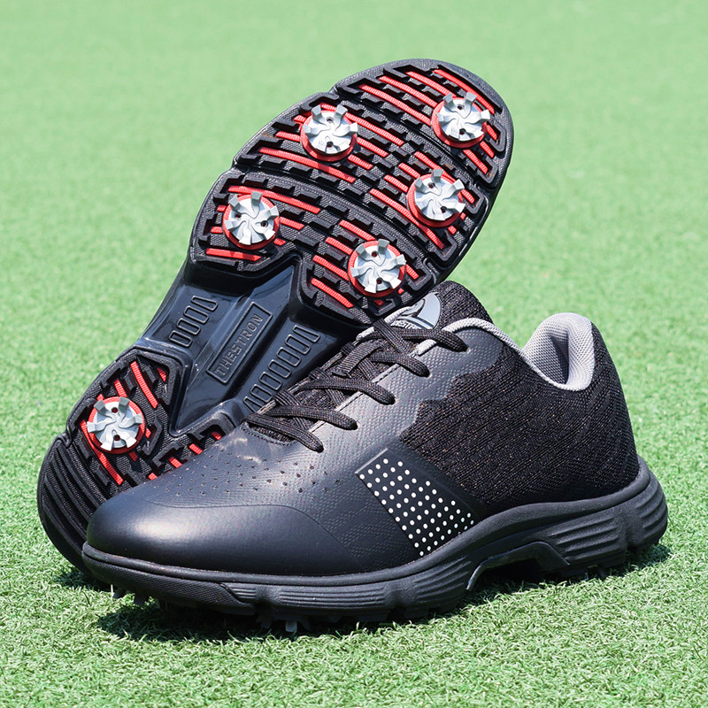Men Professional Golf Shoes Waterproof Spikes Golf Sneakers Black White Mens Golf Trainers Big Size Golf Shoes for Men 12