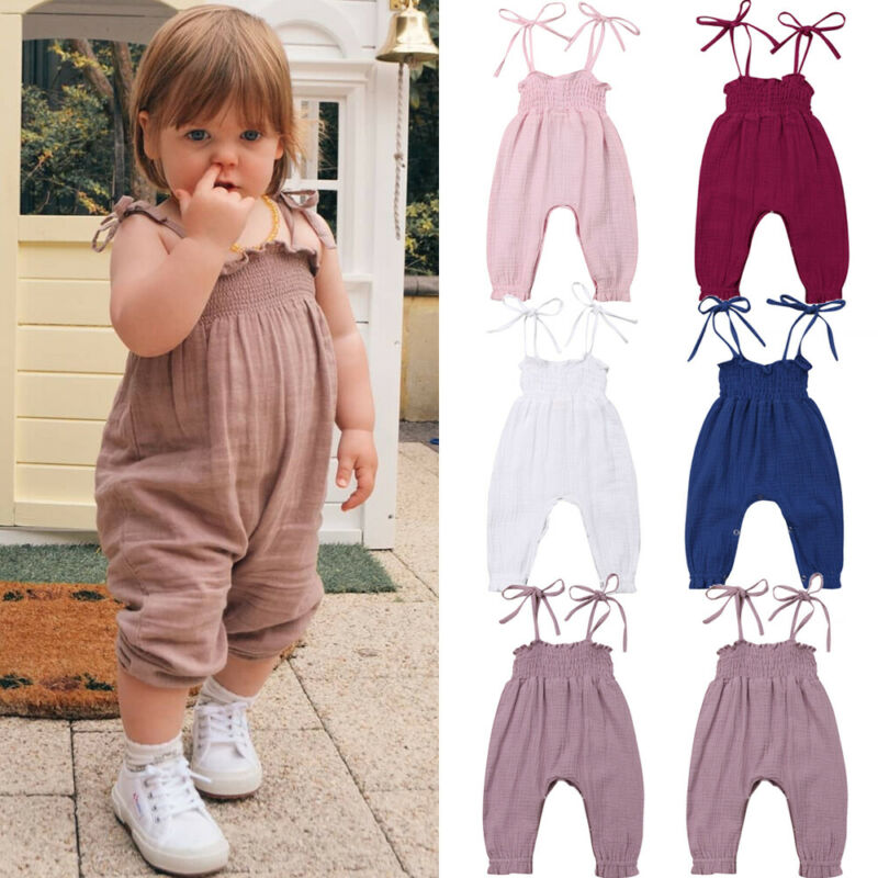Newborn Kids Baby Girl Bib Pants Solid Romper Overalls Summer Outfits Clothes