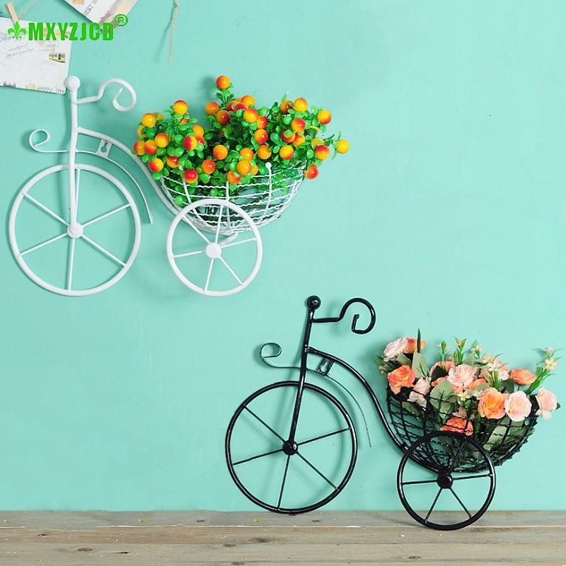 Decorazione di arte della decorazione della casa del contenitore di disposizione dei fiori della sospensione del canestro di fiore della parete della bicicletta del ferro battuto