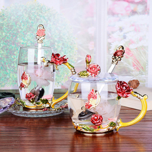 Glass coffee cup Rose and Rhinestones Decorated Enamel Coffee Cup Mug Flower Tea Milk Cups Alloy Handgrip Cups With lid saucer creative enamel stained glass water cup high end flower tea cup heat resistant glass cups european enamel cup couple mug