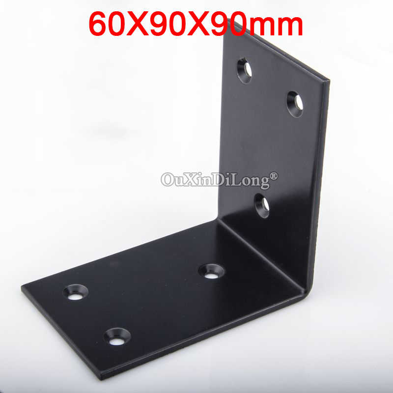 4PCS Black Furniture Corner Braces L Shape Right Angle Frame Board Support Holder Brackets Furniture Connectors 60X90X90X3.2mm