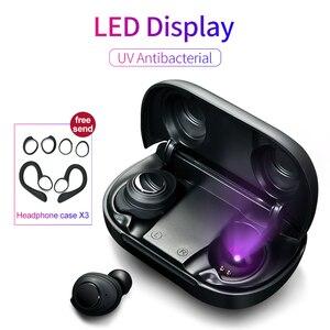 Image 1 - Bezprzewodowe słuchawki Bluetooth 5.0 sterowane za pomocą przycisków słuchawki douszne UV antybakteryjny wyświetlacz mocy LED TWS type c etui z funkcją ładowania zestawu słuchawkowego