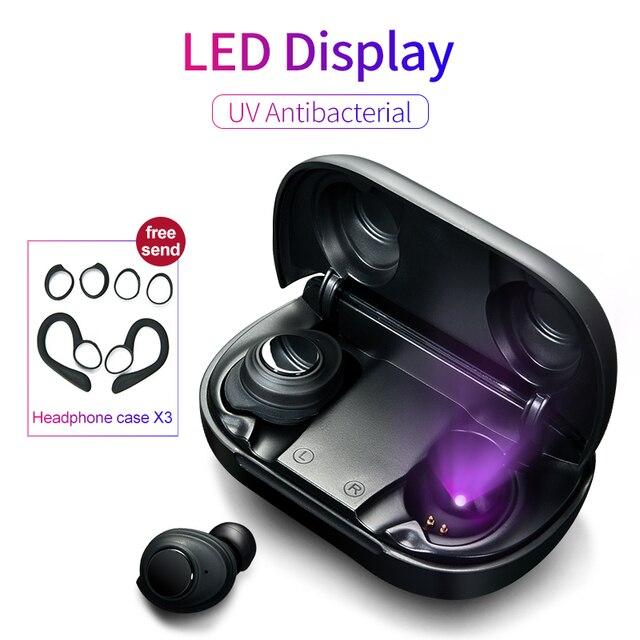 Sem fio bluetooth 5.0 fones de ouvido controle botão uv antibacteriano led power display tws tipo c caso de carregamento fone de ouvido