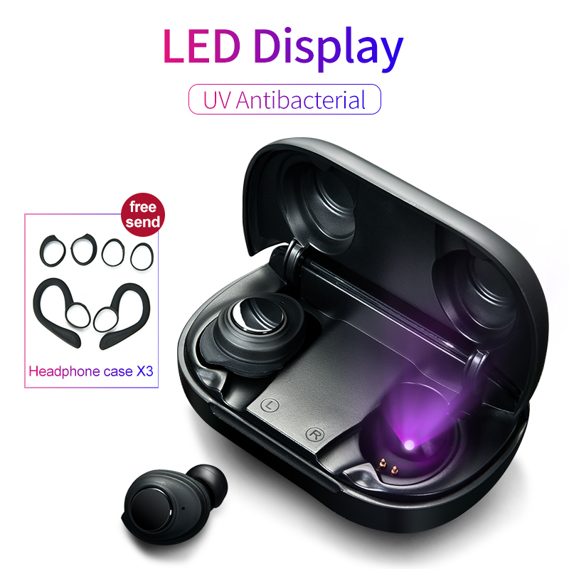 Wireless Bluetooth 5.0 Earphone Button Control Earbuds UV Antibacterial LED Power Display Earbuds Type-C Charging Case Headset(China)