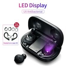 ワイヤレスbluetooth 5.0イヤホンボタンイヤuv抗菌led電源ディスプレイtwsタイプc充電ケースヘッドセット