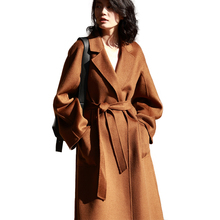 2019 Womens Autumn Winter Cashmere Coat Fashion Luxury Cashmere Wool Water Ripple Caramel Coat Trench