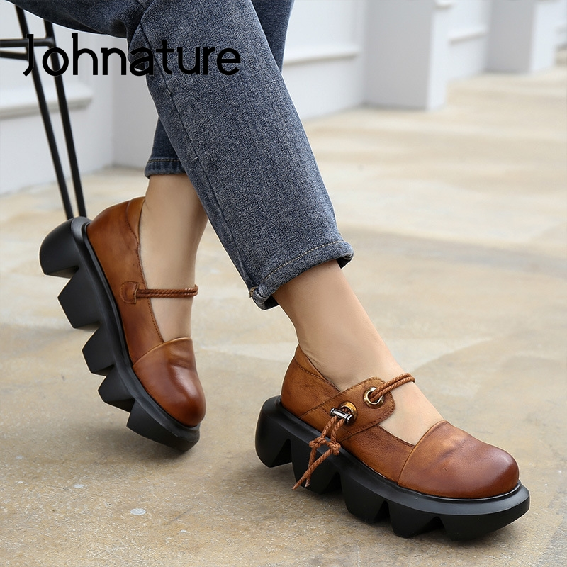 Johnature Pumps Women Shoes Platform Heels Genuine Leather 2020 New Spring Retro Round Toe Casual Handmade Concise Ladies Shoes