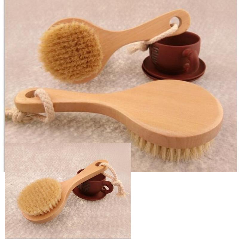 New Natural Bristle Detox Wooden Handle Shower Bath Brush Body Brush Long-handled Skin Massage Spa Brush Bathroom Bath Supplies