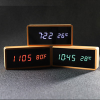Digital Alarm Clock with Temperature LED Display Table Clock Decorative Bedroom Bamboo Wood Electronic Clocks Desk Watch