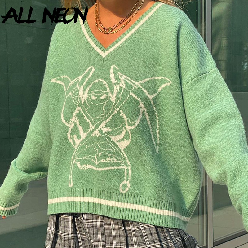 ALLNeon Y2K Sweaters Fashion Graphic Printing Oversized Green Pullovers E-girl Casual Loosed V-neck Long Sleeve Jumpers Vintage