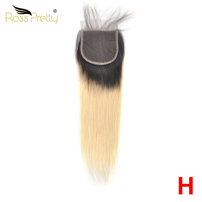 Lace closure color 1b Blonde Pre Plucked with baby hair Closure Ombre 613 Ross Pretty Remy Human Hair Sale