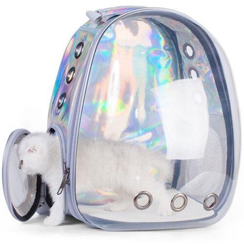 Mochila De Transporte al aire libre para perros y gatos, cápsula espacial transpirable, de viaje, transparente, portátil