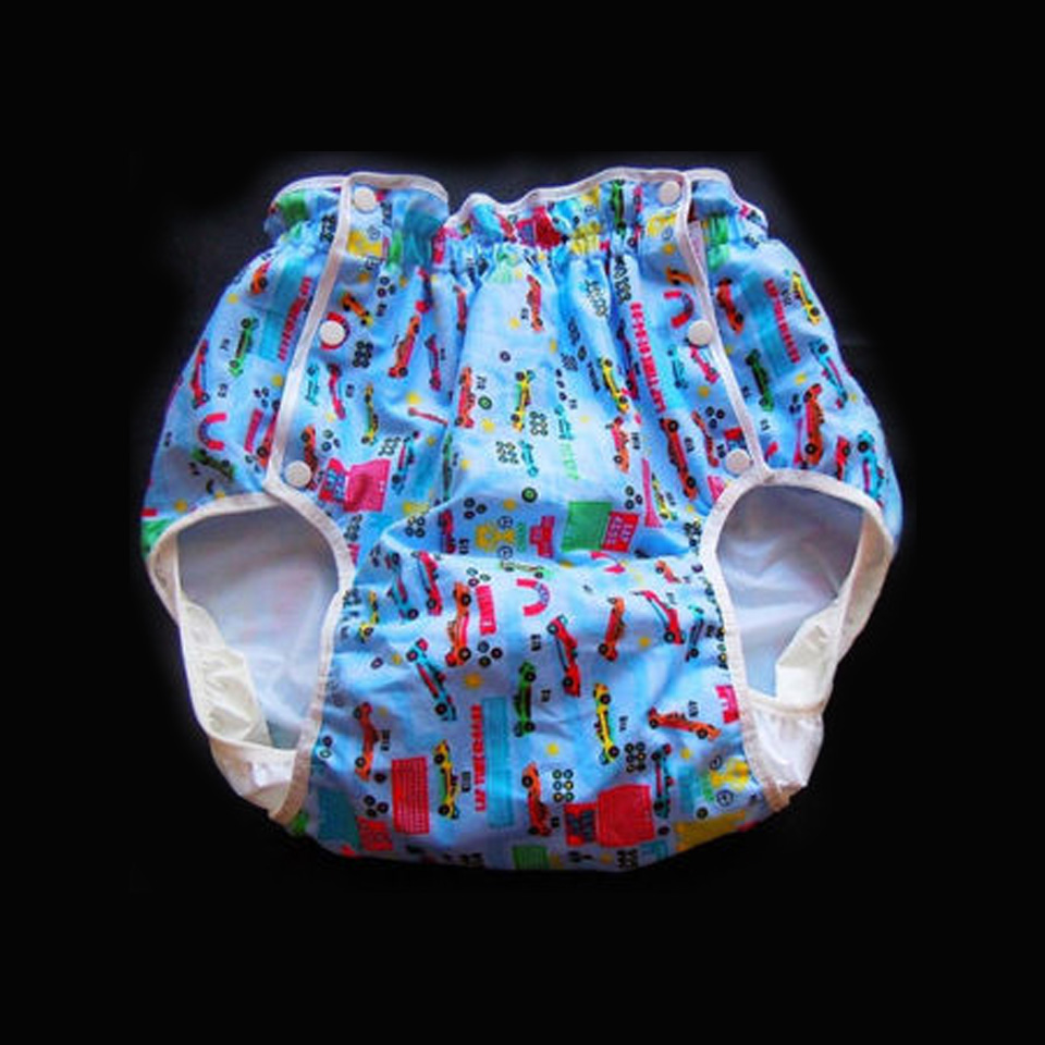 Adult little car blue red pull up PVC diaper plastic pants incontinence panties For abdl boy girl image