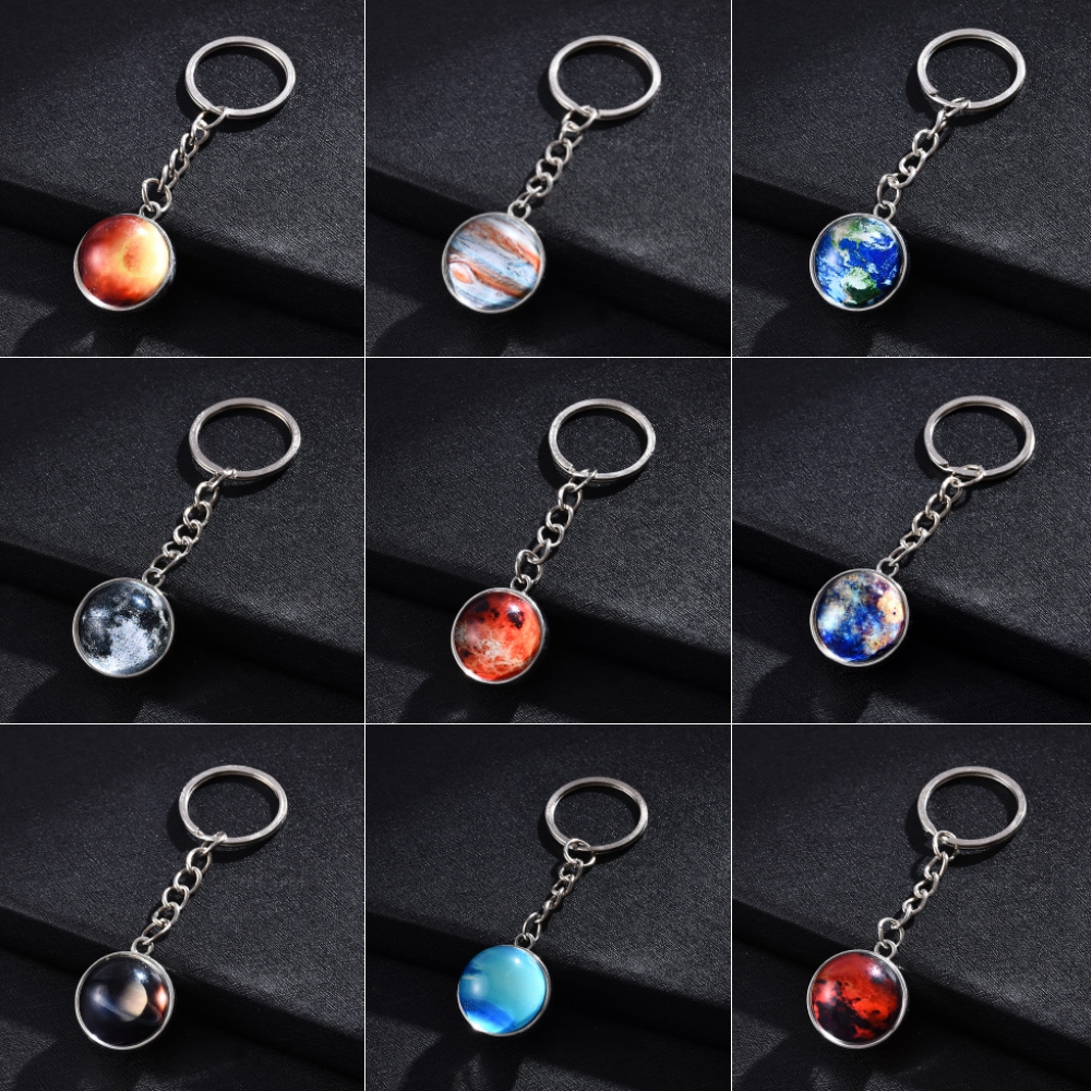 Solar System Planet Key Chains Galaxy Nebula Space Keychain Moon Earth Sun Mars Art Picture Double Side Glass Ball Key Chain