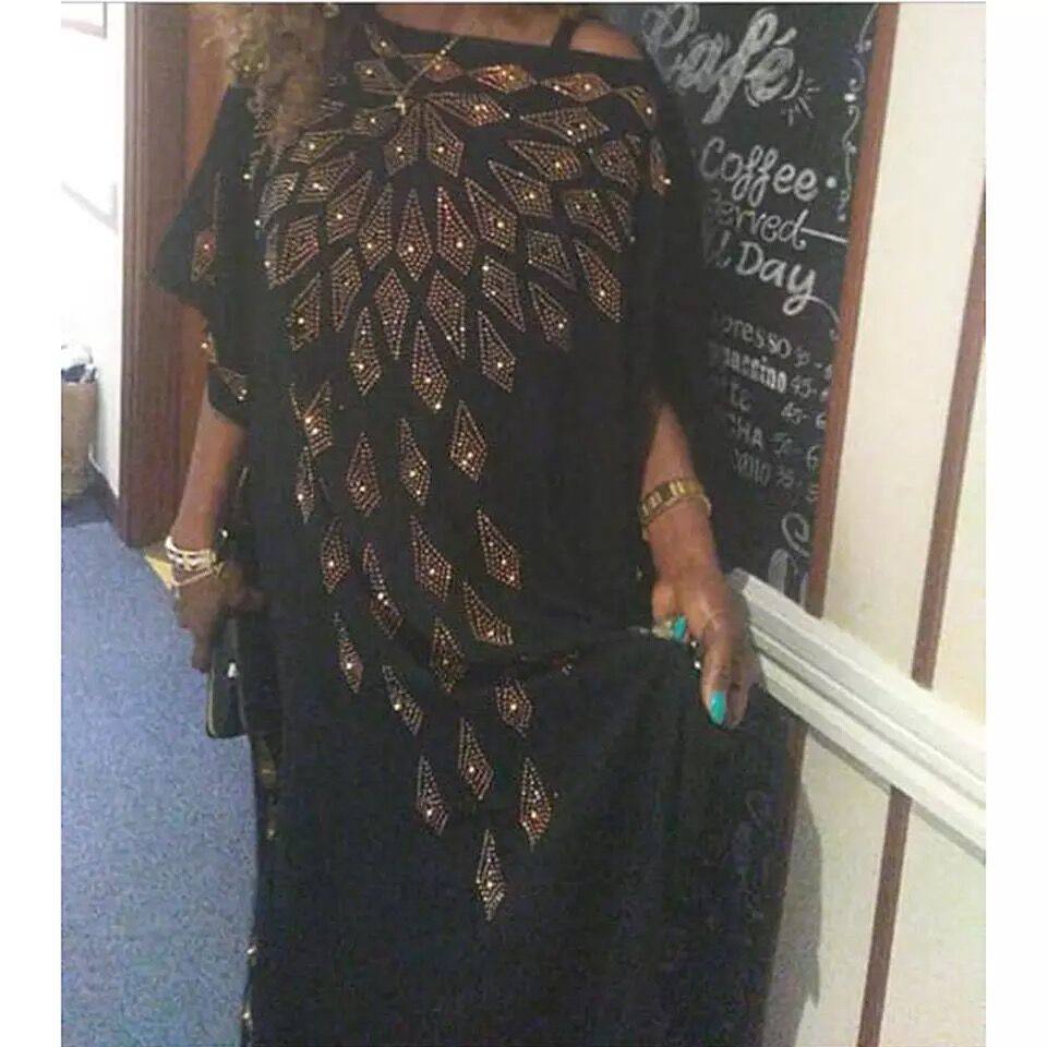 New African Diamond Long Dashiki Big Summer Black Dress For Lady African Clothes 100#