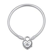 Fantasyland pulsera de corazón de Castillo para mujer, joyería de plata de ley para mujer, pulsera europea de maquillaje de moda