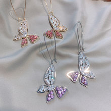 Fashion Cute Butterfly Drop Earrings Luxury Silver Color Rectangle Pink Purple Rhinestone Earring for Women Party Jewelry Gift(China)