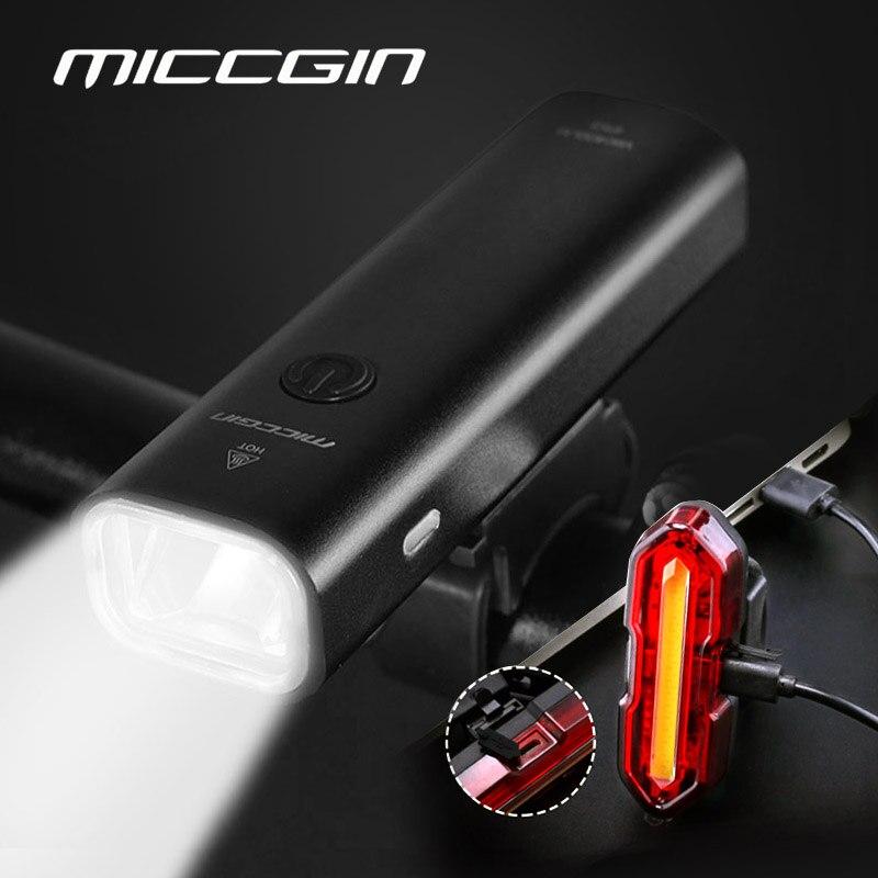 MICCGIN LED Bike Light USB Rechargeable 2000mAh Aluminum Front Rear Rainproof Bicycle Ultralight MTB Lantern Cycling Flashlight