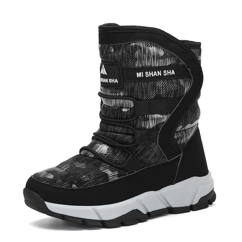 Зимние Детские теплые ботинки; уличные ботинки до середины икры на меху; Водонепроницаемая Обувь для мальчиков и девочек; детская повседнев