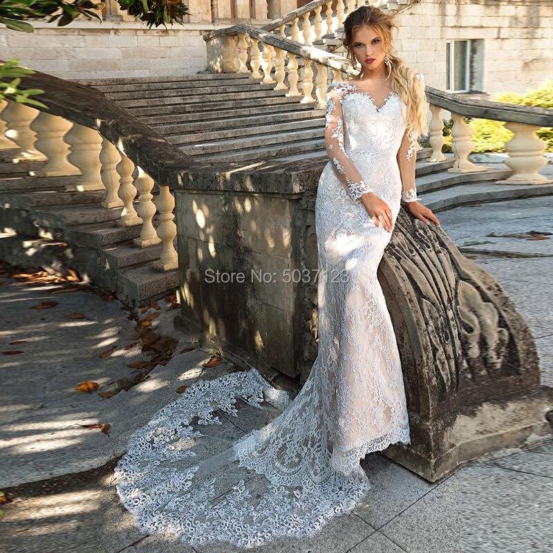 Lace Long Sleeves Mermaid Wedding Dresses Scoop Button Illusion Vestido De Noiva Lace Appliques Court Train Bridal Gowns