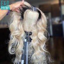 180% 1b 613 mel loira ombre colorido 13x4 frente do laço perucas de cabelo humano para preto mulheres pré arrancadas brasileiro remy onda do corpo peruca