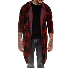 Men Hooded Cardigan Black And Red Plaid Hooded Open Stitch Coat Early Autumn Male Plaid Hoodie Pocket Cardigan British Style D40 open front sennit design hooded cardigan