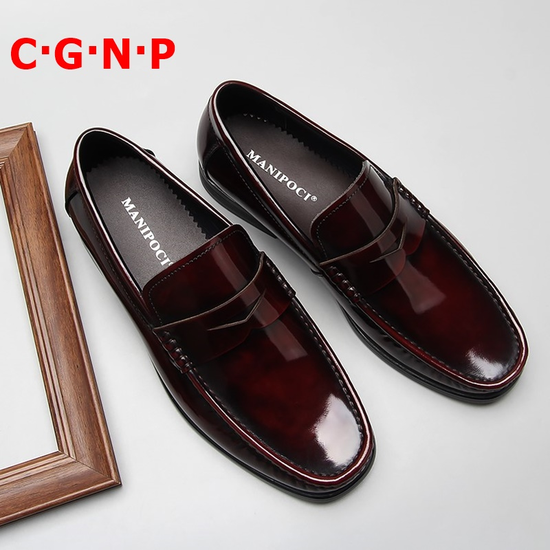 C·G·N·P New Arrival Wine-red Patent Leather Loafers Men British Style Casual Shoes Slip On Dress Shoes Breathable Mens Boat Shoe