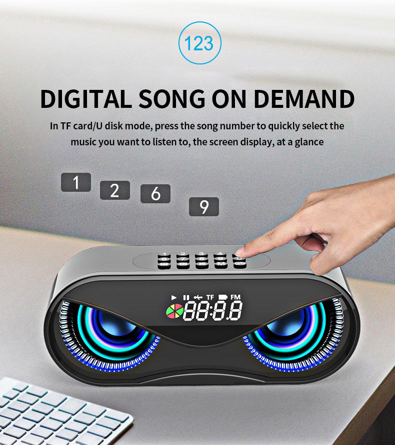 FM Radio Alarm Clock Bluetooth Speaker with LED Flash H6d431de7258b4297bb738c1e6549f51d0 speaker