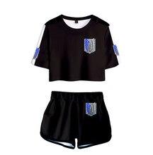 Cosplay anime ataque em titã conjunto feminino t camisa saia shorts de cama casual ataque colossal titan traje tshirt topo XS-2XL