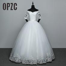 מכירה לוהטת חתונה שמלת חדש הגעה אפליקציות רקמת תחרה חצי שרוול סקסי ונט צוואר כבוי כתף שמלת Vestido דה noiva