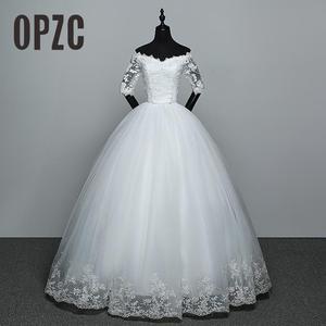 Image 1 - Bán Áo Cưới Mới Xuất Hiện Appliques Đầm Ren Tay Lửng Gợi Cảm Bont Cổ Lệch Vai Váy Đầm Vestido De Noiva