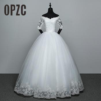 Hot Sale Wedding Dress New Arrival Appliques Embroidery Lace Half Sleeve Sexy Bont Neck off shoulder Gown vestido de noiva - discount item  37% OFF Wedding Dresses
