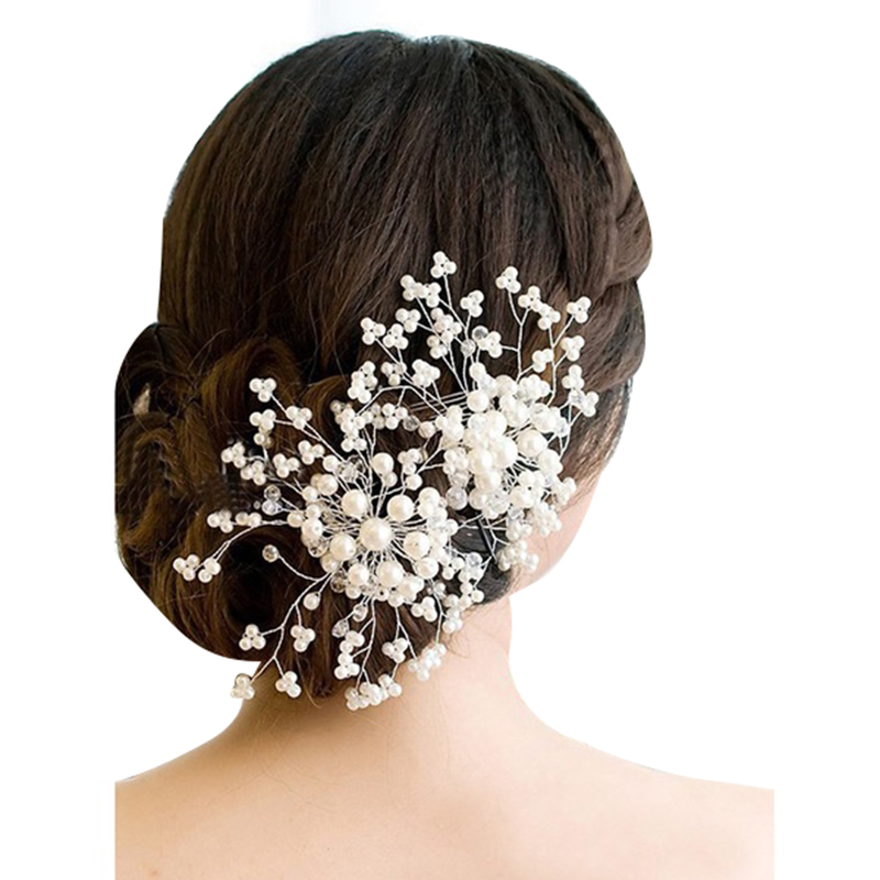 Crystal Flower Faux Rhinestone Wedding Bridal Flower Hair Clip Hairpin Party White Hair Comb