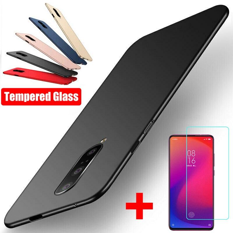 Ultra Slim Hard Plastic+Tempered Glass Screen Protect Flim 2In1 Case For Xiaomi Redmi K30 Note 8T 8 7 Pro 8A Mi 9T Pro 9 A3 Lite