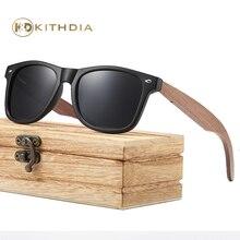 Kithdia Walnut Wooden Polarized Men's Sunglasses Oval Frame