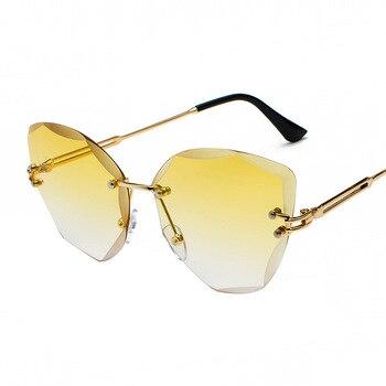 XaYbZc DESIGN Fashion Lady Sun glasses 2020 Rimless Women Sunglasses Vintage Alloy Frame Classic Brand Designer Shades Oculo 8