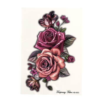 beauty 1piece make up Fake temporary tattoos stickers rose flowers arm shoulder tattoo waterproof women big flash tattoo on body 5