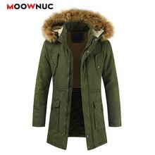 Parkas Winter Jackets Windbreaker Coats Fashion Slim Mens Overcoat Thick Mid-long Hats Casual Hombre Windproof MOOWNUC