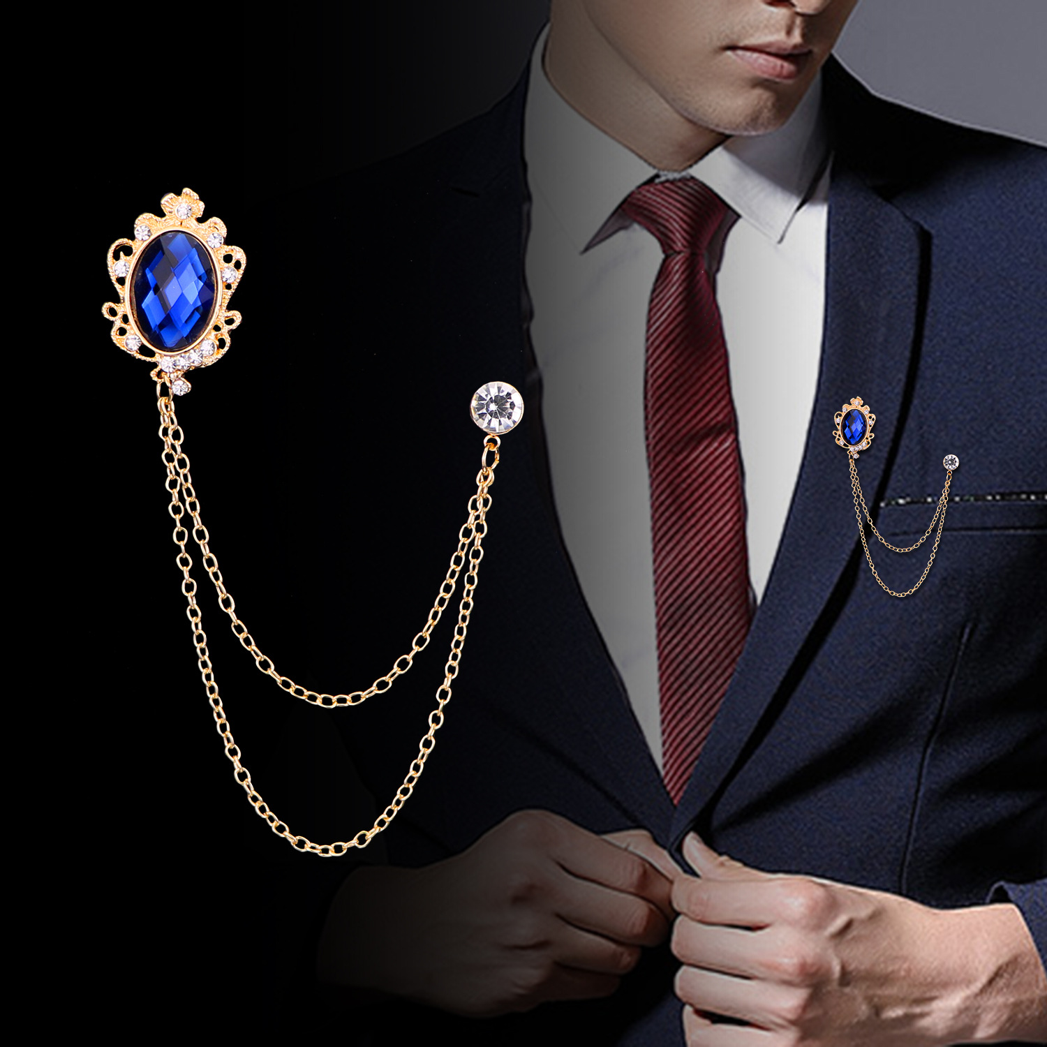 I-Remiel Fashion New Crystal Tassel Chain Brooches Personality Suit Badge Dress Corsage Brooch Jewelry Luxury Men Accessories