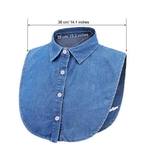 Mujeres Cuello Falso Desmontable Blusa Camisa Mitad Falsa Solapa Vintage Collar Babero