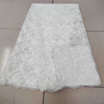 Pure white New Design African Lace Fabric High Quality French Nigerian sequins Embroidered Tulle Lace Fabric With Sequins