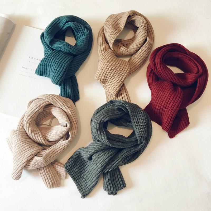 Korean Knit Wool Solid Soft Warm Autumn Winter Thick Kids Children Boys Girls Shawls Wraps Scarves Accessories-LHC