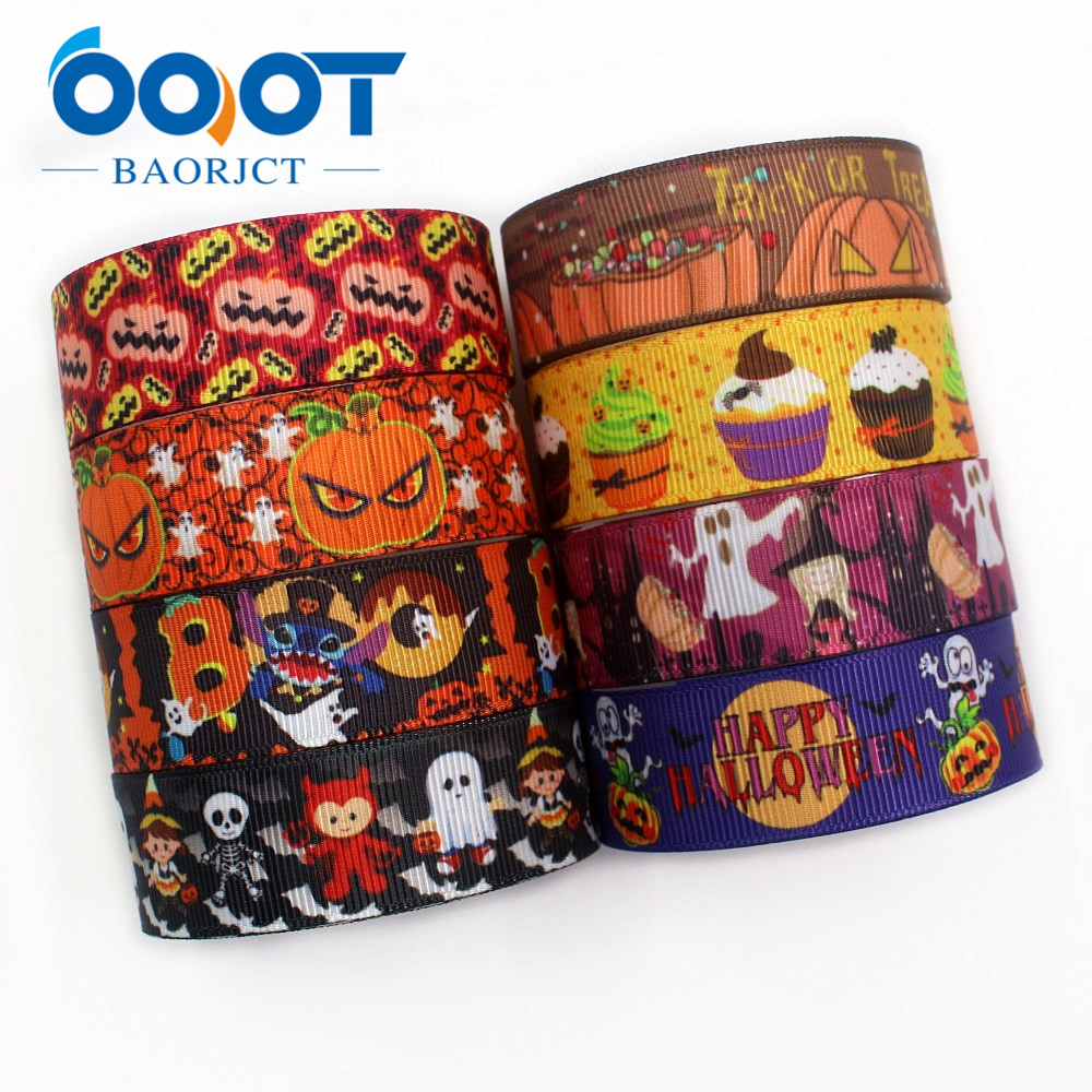 OOOT BAORJCT I-191004-2324,22mm,10yards <font><b>Halloween</b></font> series Cartoon <font><b>grosgrain</b></font> <font><b>ribbons</b></font>,Holiday decoration,DIY handmade materials image