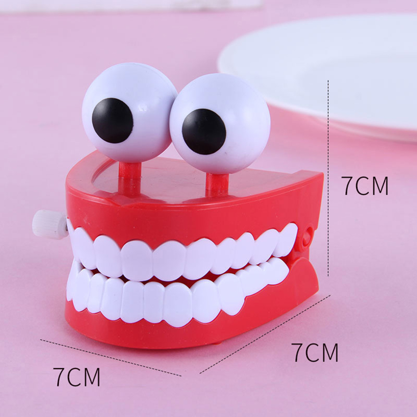 Wind Up Chomping & Chattering Teeth Toys Jumping Teeth for Kids Birthday Party Favors, Novelty Gifts, Dental Office Decoration