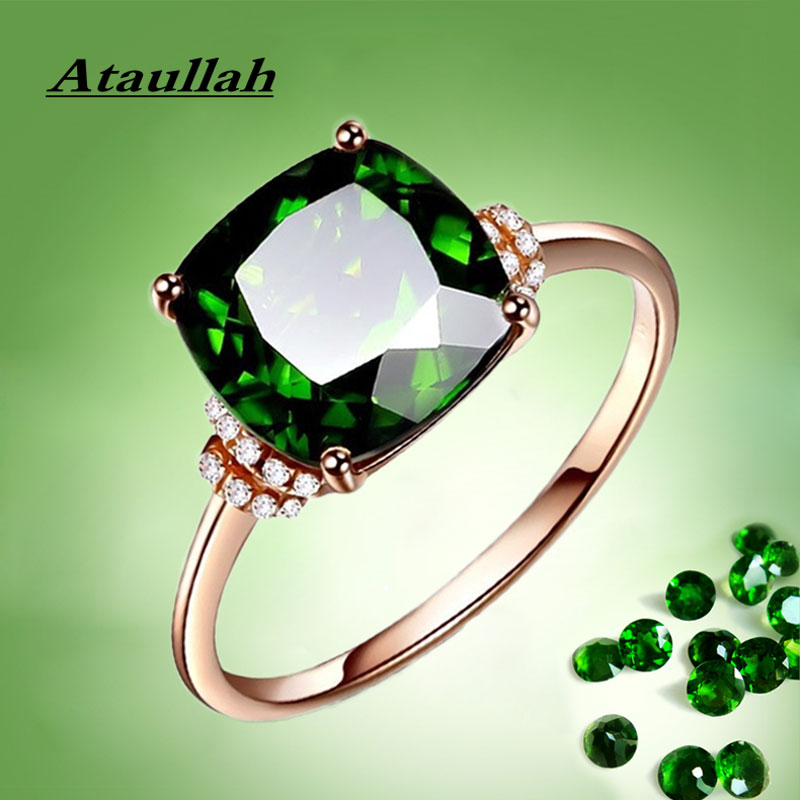 Ataullah Natural Diopside Rings 925 Silver 18k Gold Plated Inlaid With 3A Zircon Gemstone Ring Fine Jewelry For Woman Gift RW084
