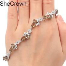 Classic Smoky Topaz White CZ Ladies Present Silver Bracelet 7.0-8.0 23x11mm