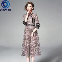 Модное леопардовое платье миди для женщин Осеннее корейское