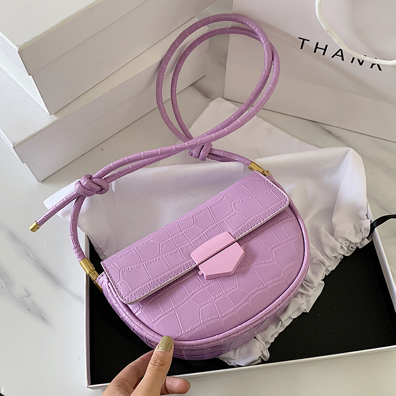 Stone Pattern Solid Color PU Leather Small Saddle Bags For Women 2020 Summer Special Shoulder Belt Crossbody Shoulder Bags
